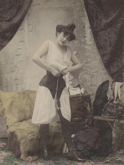 Girl Undoing Her Corset--Giclee Print