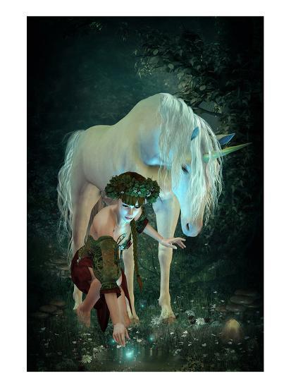 Girl Unicorn and Fireflies --Art Print