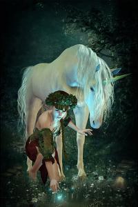 Girl Unicorn and Fireflies