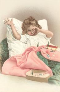Girl Waking with Toys
