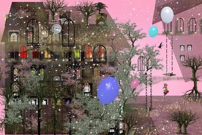 Girl Walking in a Garden next to a Big House with Pink Sky, Big, Colorful Air Balloons, Many Japane-Ilona Reny-Art Print