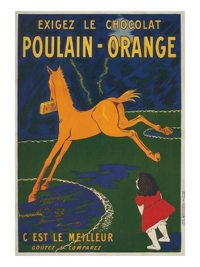 Girl Watching Orange Horse--Art Print