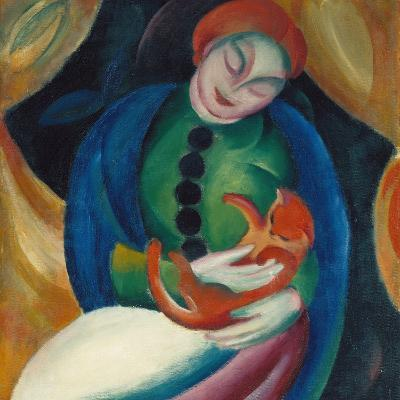 Girl with a Cat Ii., 1912-Franz Marc-Giclee Print