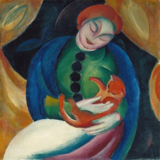 Girl With A Cat Ii 1912 Giclee Print Franz Marc Art Com