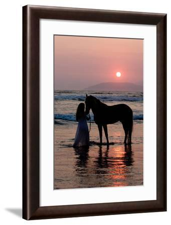 Girl with a Horse in the Water at Sunset-Nora Hernandez-Framed Photographic Print