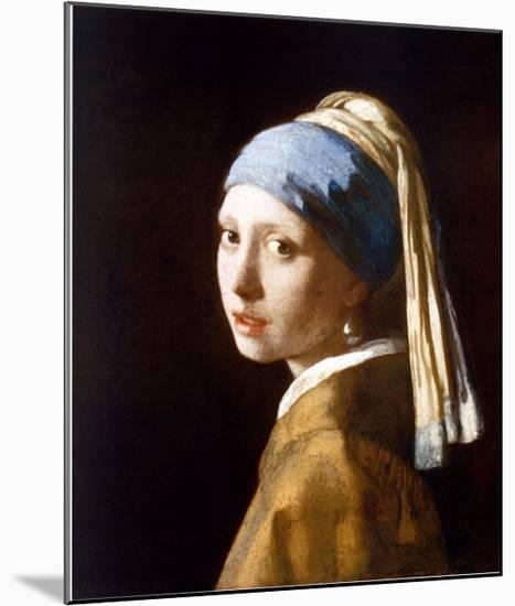 Girl with a Pearl Earring-Johannes Vermeer-Mounted Art Print