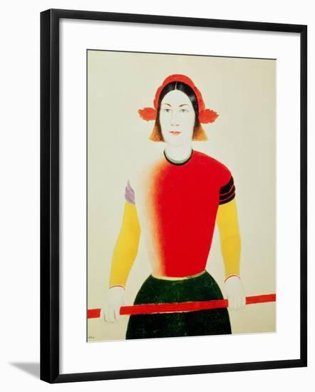 Girl with a Pole (Oil)-Kasimir Malevich-Framed Giclee Print