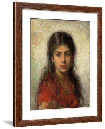 Girl with a Red Shawl-Alexei Alexevich Harlamoff-Framed Giclee Print