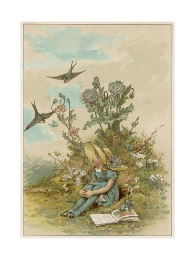 Girl with Birds-M Ellen Edwards-Giclee Print