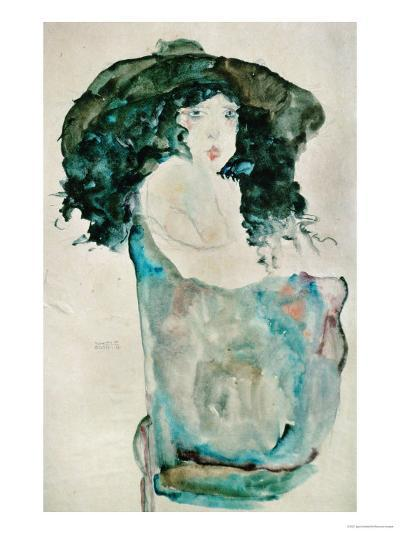 Girl with Blue-Black Hair and Hat, 1911-Egon Schiele-Giclee Print