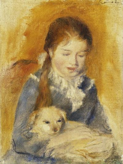 Girl with Dog-Pierre-Auguste Renoir-Giclee Print