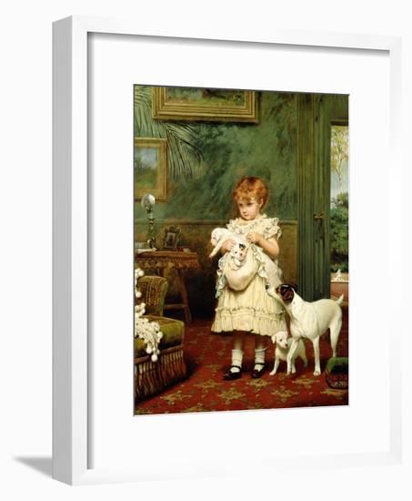 Girl with Dogs, 1893-Charles Burton Barber-Framed Giclee Print