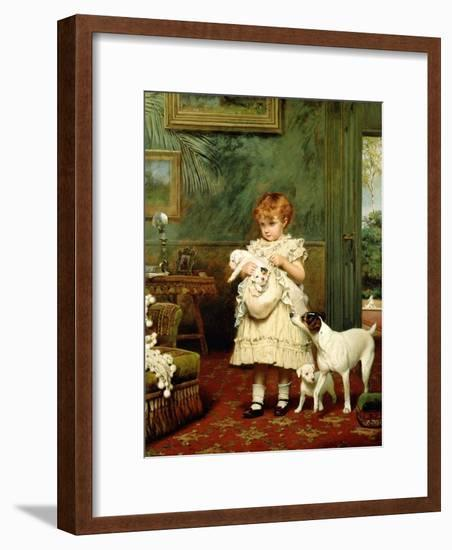 Girl with Dogs, 1893-Charles Burton Barber-Framed Giclee Print