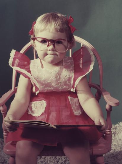 Girl with Eyeglasses Reading Book--Photographic Print