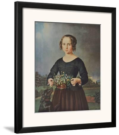 Girl with Floral Basket-Ferdinand Rayski-Framed Art Print