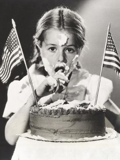 Girl with July 4th Cake All over Her Face--Photo