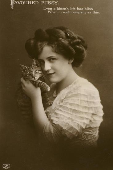 Girl with Kitten--Photographic Print