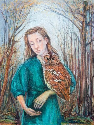Girl with Owl, 2012-Silvia Pastore-Giclee Print