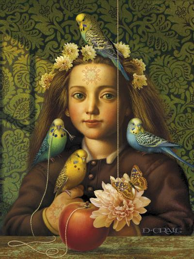 Girl with Parakeets-Dan Craig-Giclee Print