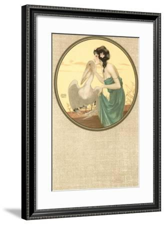 Girl with Pelican, Art Nouveau--Framed Art Print