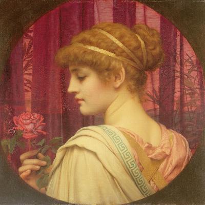Girl with Red Rose-John William Godward-Giclee Print
