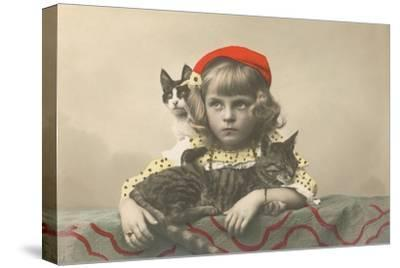 Girl with Red Tam and Two Cats