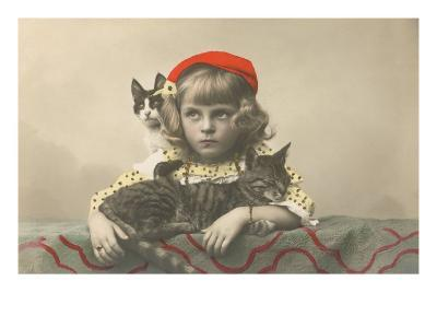 Girl with Red Tam and Two Cats--Art Print