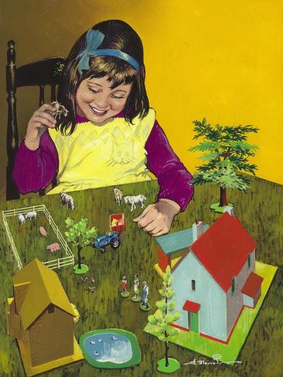 Girl with Toy Farm-Jesus Blasco-Giclee Print