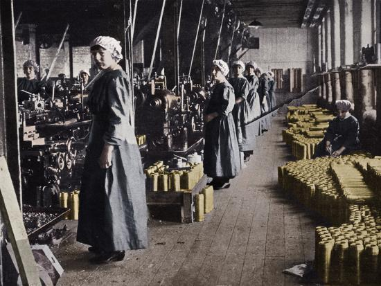 'Girl workers in a munitions factory', 1915-Unknown-Photographic Print