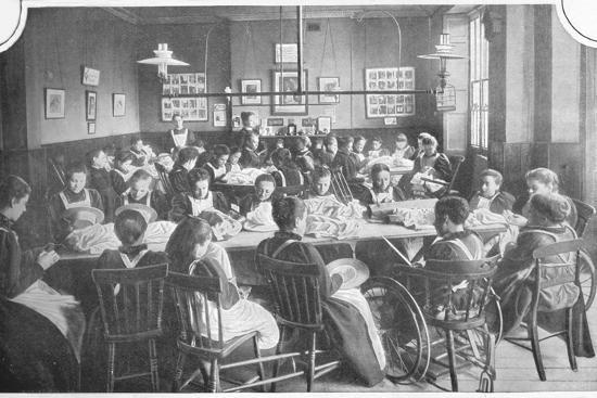 Girls at needlework, Halliwick School For Girls, Marylebone Road, London, c1903-Unknown-Photographic Print