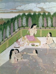 Girls Bathing, Pahari Style, Kangra School, Himachel Pradesh, 18th Century