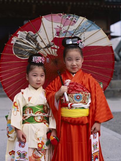 Girls Dressed in Kimono, Shichi-Go-San Festival (Festival for Three, Five, Seven Year Old Children)--Photographic Print