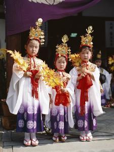 Girls Dressed in Traditional Costume, Festival of the Ages (Jidai Matsuri), Kyoto, Honshu, Japan