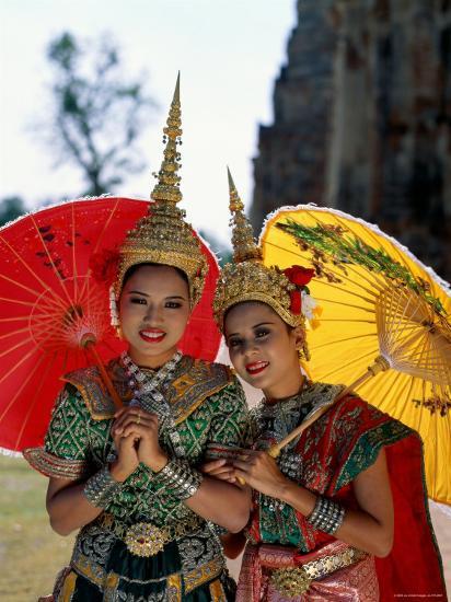 Girls Dressed in Traditional Dancing Costume, Bangkok, Thailand  Photographic Print by Steve Vidler   Art com