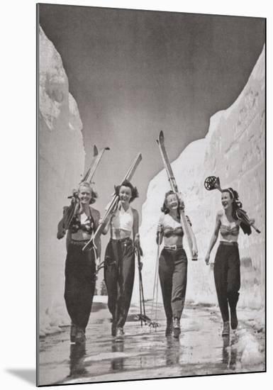 Girls Gone Skiing--Mounted Print