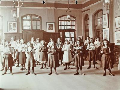 Girls Holding Indian Clubs, Cromer Street School/ Argyle School, St Pancras, London, 1906--Photographic Print