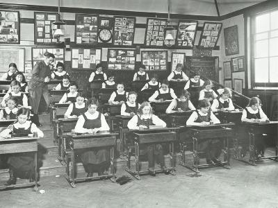 Girls in a Classroom, Tollington Park Central School, London, 1915--Photographic Print