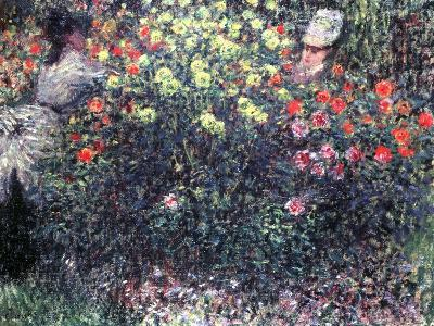 Girls in a Solid Mass of Dahlias, 1875-Claude Monet-Giclee Print