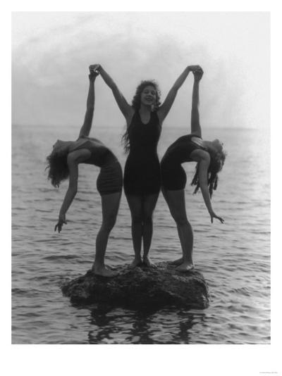 Girls in Posing on a Rock in the Water Photograph-Lantern Press-Art Print