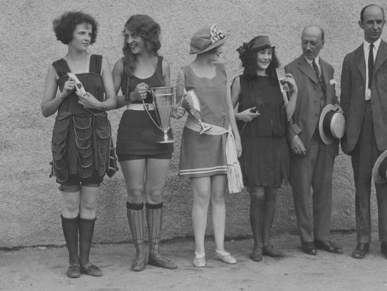 Girls in Summery Attire Hold Cup, Ribbons, and Awards They've Won-Maynard Owen Williams-Photographic Print