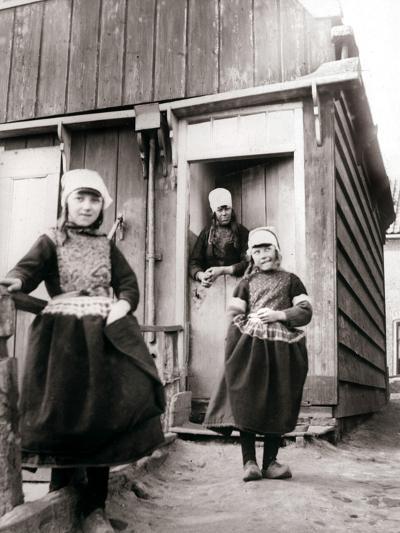 Girls in Traditional Dress, Marken Island, Netherlands, 1898-James Batkin-Photographic Print