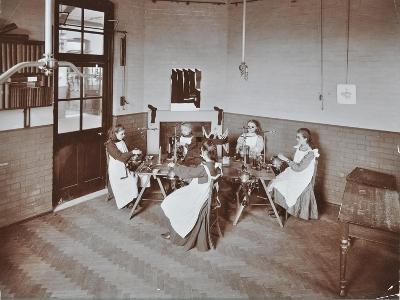Girls Knitting Socks by Machine at the Elm Lodge School for Blind Girls, London, 1908--Photographic Print