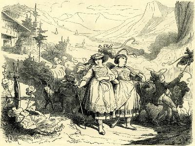Girls Leading Cattle to the Mountains Switzerland--Giclee Print