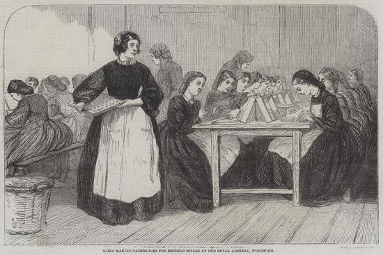 Girls Making Cartridges for Enfield Rifles at the Royal Arsenal, Woolwich--Giclee Print