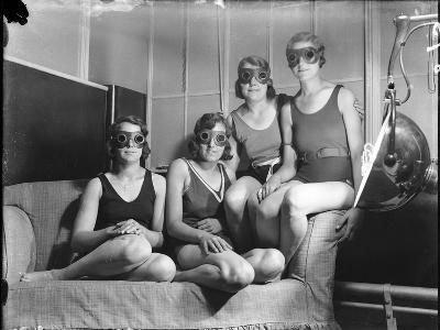 Girls on Sun Bed--Photographic Print