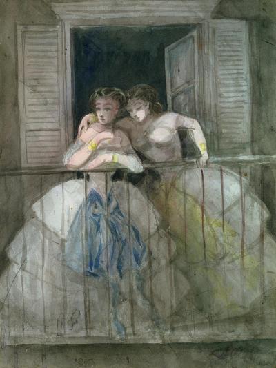 Girls on the Balcony, 1855-60-Constantin Guys-Giclee Print
