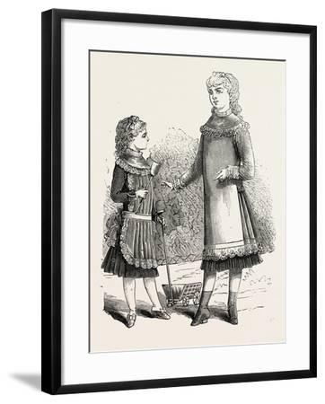 Girls' Pinafores, 1882, Fashion--Framed Giclee Print