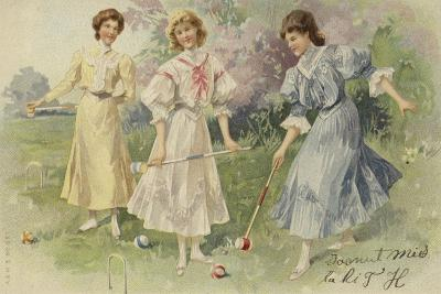Girls Playing Croquet--Giclee Print