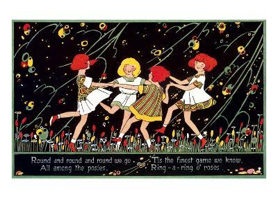 Girls Playing Ring Around Rosy--Art Print