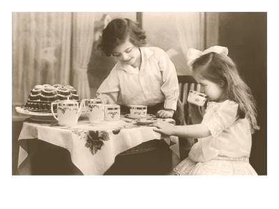 Girls Playing Tea Party--Art Print